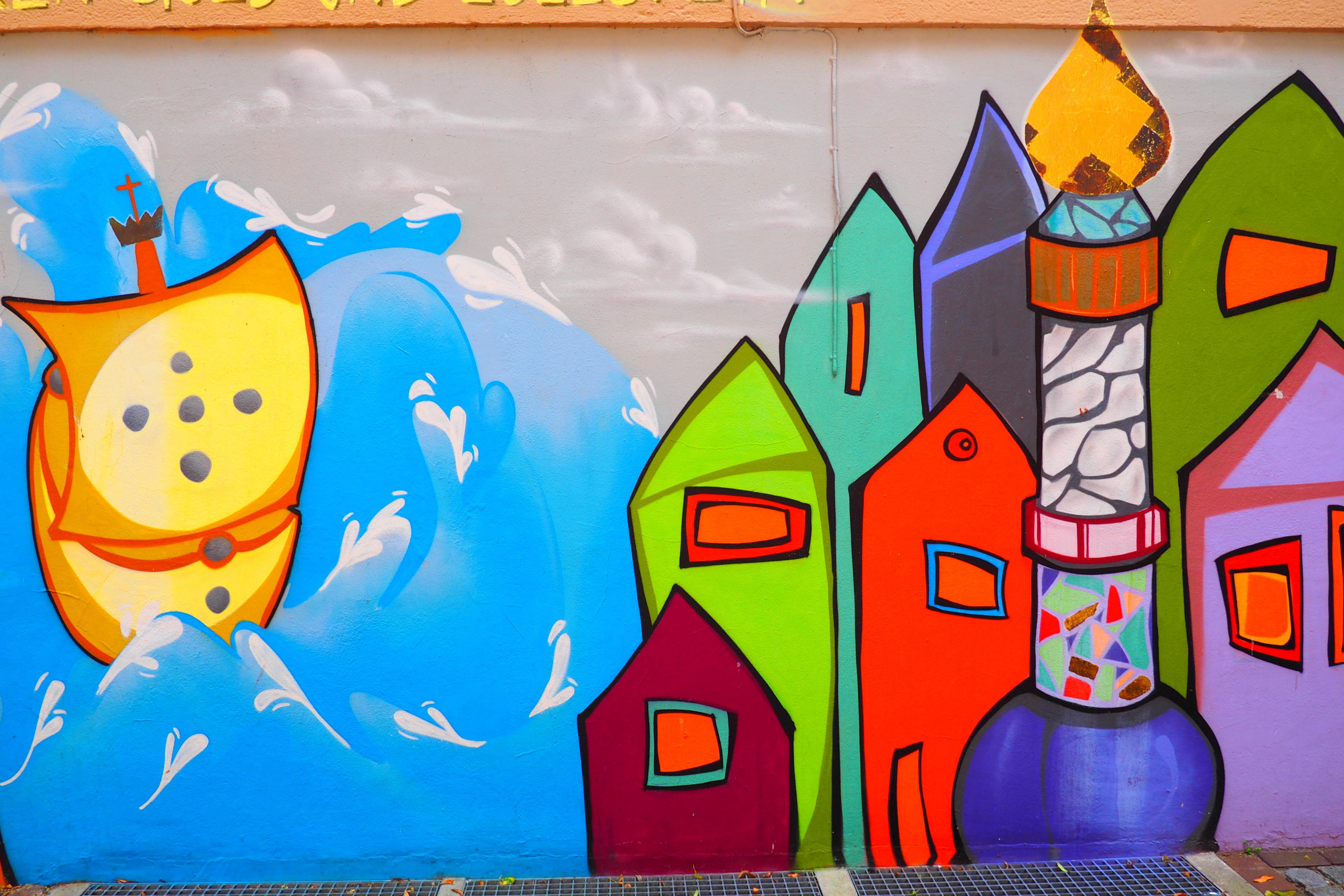 Bunte Mauer Stadtansicht